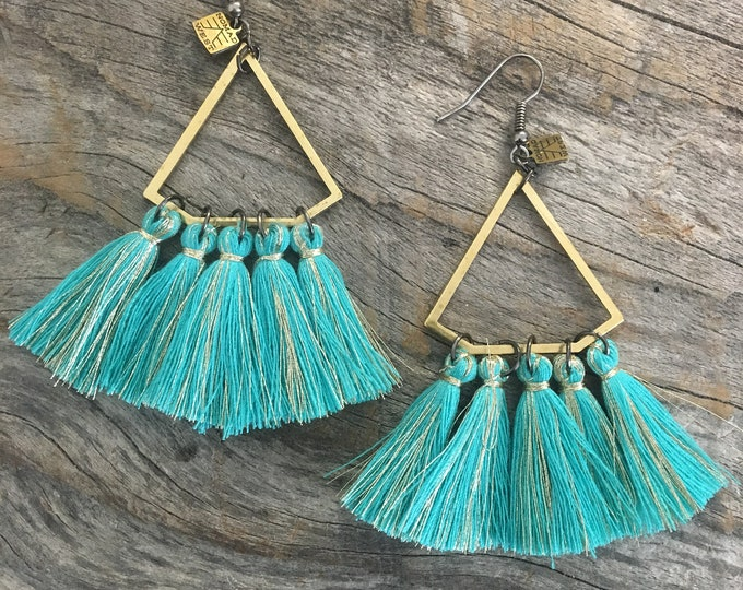 DD Earrings - Tassel, teal, black, tan, cream, bohemiam, earrings, boho, handmade jewelry, summer, trendy, gift, jewelry, gold, fringe