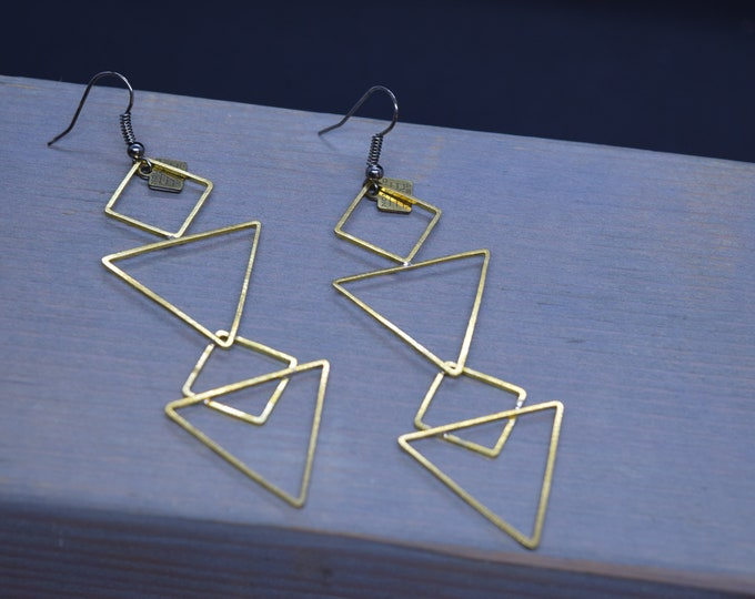 Alchemy Earrings - Handmade - Sacred Symbol - Esoteric - Witchy - Spiritual - Bohemian - Triangles - Sacred geometry - Nomad West - Earrings