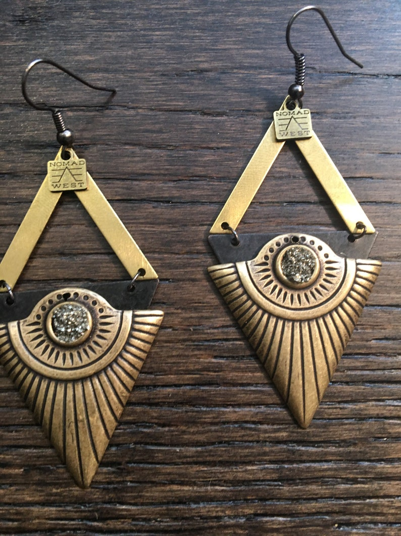 black bohemian fashion Egyptian nomad west gold celestial Cleo Earrings brass gemstone geometric pyrite