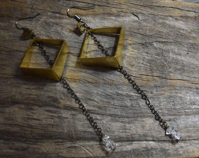 Nova Earrings - herkimer diamond - drop - dangle - celestial - nomad west - witchy - designer - jewelry - geometric - brass - gunmetal