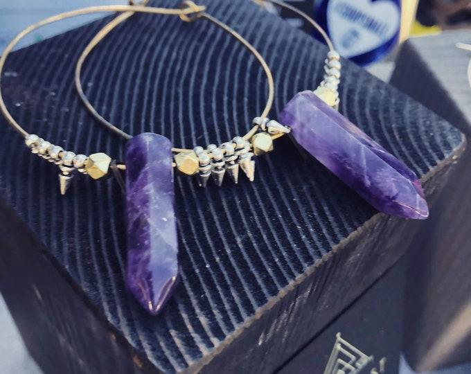Seven Sisters Hoop Earrings - crystal - hoop - spike - celestial - nomadwest - amethyst - quartz - handmade - jewelry - witchy - boho