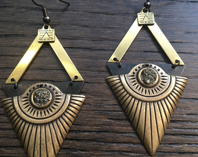 Cleo Earrings - Egyptian - celestial - fashion - geometric - gemstone - pyrite - black - gold - brass - bohemian - nomad west