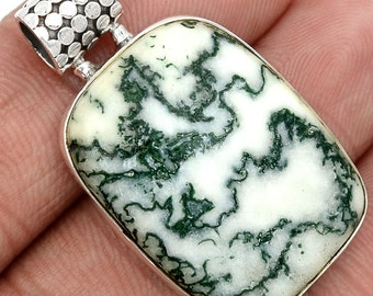 Moss Agate in Quartz (Tree Quartz) Pendant in Sterling Silver All Natural and Undyed.