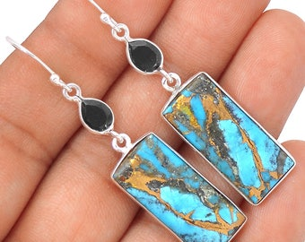 "Ithaca Peak Turquoise Earrings. Black Onyx Accents. 2 1/8"" Long 6870"