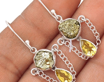 """Citrine and Pyrite Earring Pair. SHINE! 1 1/2"""" Long. 7890"""