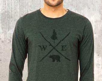 c8680b8b8db8a2 Men s Long Sleeve T-Shirt - Forest Compass - Men s Blended Fabric Long  Sleeve Shirt