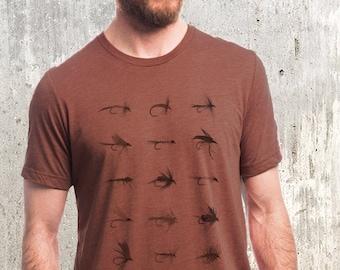 Fly Fishing Flies Shirt - Mens Fish Shirt - Men's Fishing T Shirt - Fisherman Gift   Clay