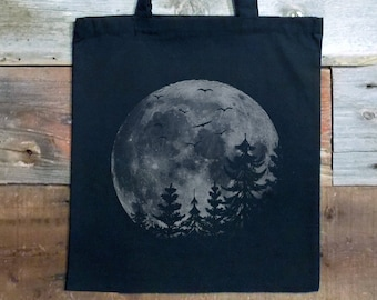 Tote Bag - Cotton Canvas Bag - Full Moon and Pine Tree Silhouettes