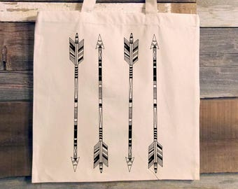 Tote Bag - Hand Drawn Arrows - Screen Printed Tote