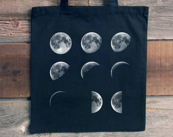 Canvas Tote Bag - Moon Tote Bag - Moon Phases - Science Tote Bags - Astronomy Gifts - Eco Bag