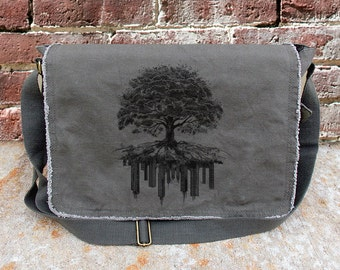 edba3748477e Messenger Bag - Tree and Crumbling City - Screen Printed Messenger Bag