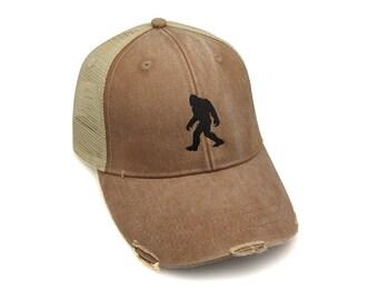 Bigfoot Trucker Hat - Adjustable Men s Unisex Distressed Trucker Hat - 2  Color Options Available 27073cf85704