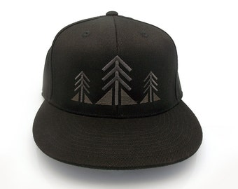 e72aff60b78 Three Trees - Men s Unisex Black Hat - Flat Bill and Curved Bill Fitted    Snapback Options Available