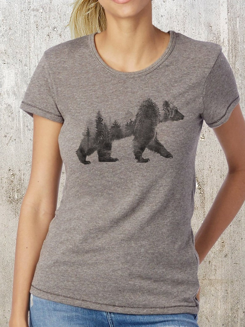 Bär Eco Frauen Shirt Alternative T Andenken Tee Damen Doppelbelichtung Bekleidung Mischung TKJ1lc3F