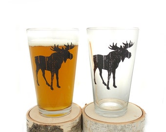 Pint Glasses - Rustic Moose  - Screen Printed Beer Glasses - Set of two 16oz. Pint Glasses