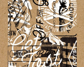 Screen Printed Poster - Mountain Typographic Collage - 16 x 20