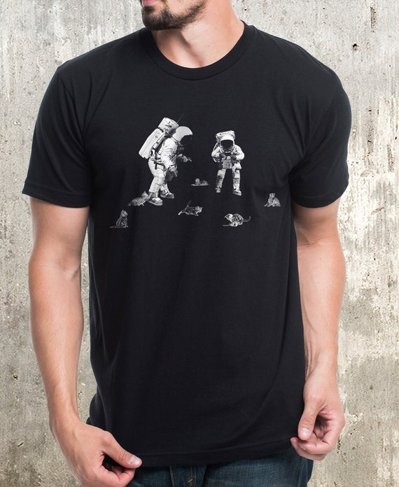 Astronauts and Space Kittens Men's Graphic Tee American Apparel Men's Small Through XXL Available