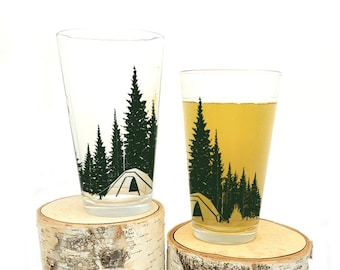 Camping in the Forest Pint Glasses - Screen Printed Glasses