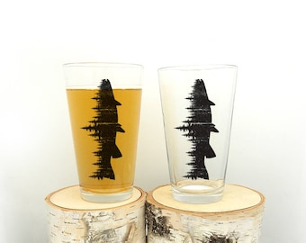 Pint Glass - Fish and Forest - Screen Printed Pint Glass Set