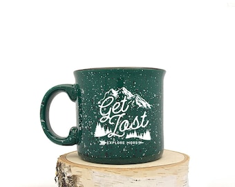 Camping Mug - Get Lost Explore More - Speckled Color Mug - Campfire Collection