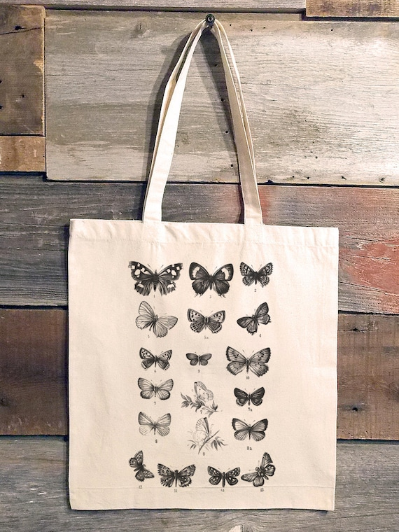 Butterfly Tote Bag  Butterfly Chart  Canvas Tote Bag