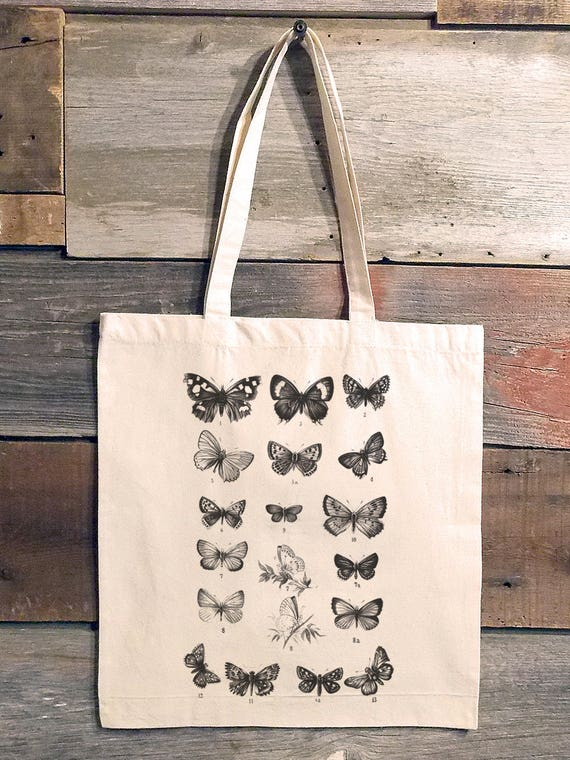 Dusty Blue Shopping Bag with Flat Bottom Butterflies Hand Screen Printed Tote Bag Art Print Tote Market Bag Graphic Tote.