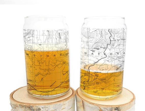 Can Glasses Yellowstone National Park Topographic Map Glasses