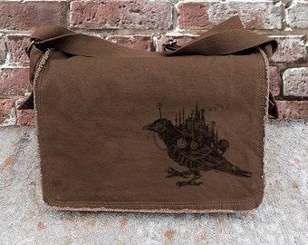 Cotton Canvas Messenger Bag - Steampunk Black Bird - Screen Printed Messenger