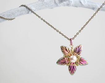 Iridescent Pinks and Greens Flower Star Necklace