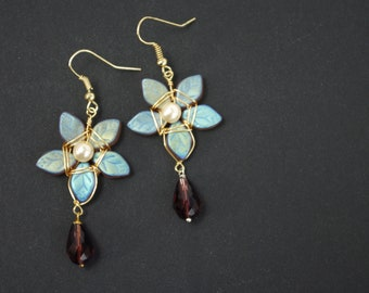 Iridescent Star-Flower Fairytale Earrings       Dusty Purples, Greens, and Golds       Gold Plated