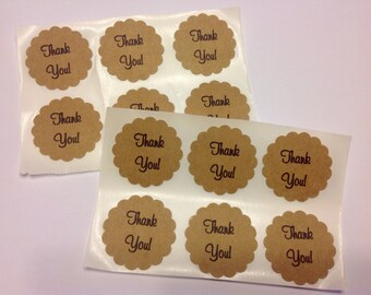 KRAFT TAGS STICKERS 12 Die Cut Wedding Thank You Favor Scalloped Circles