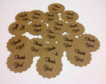 KRAFT TAGS 12 Die Cut Wedding Thank You Favor Scalloped Circles