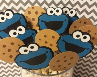 Cookie Monster Cupcake Toppers Set of 12 total heads and cookies