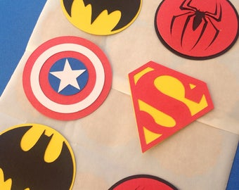 STICKERS Super Hero Set of 12 Spiderman superman captain america batman