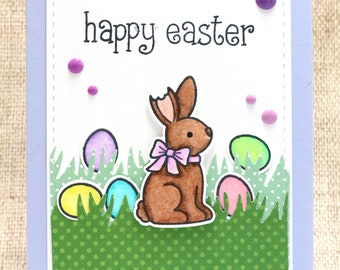 Happy Easter Card- Easter Card- Easter Bunny- Easter Eggs- Chocolate Bunny