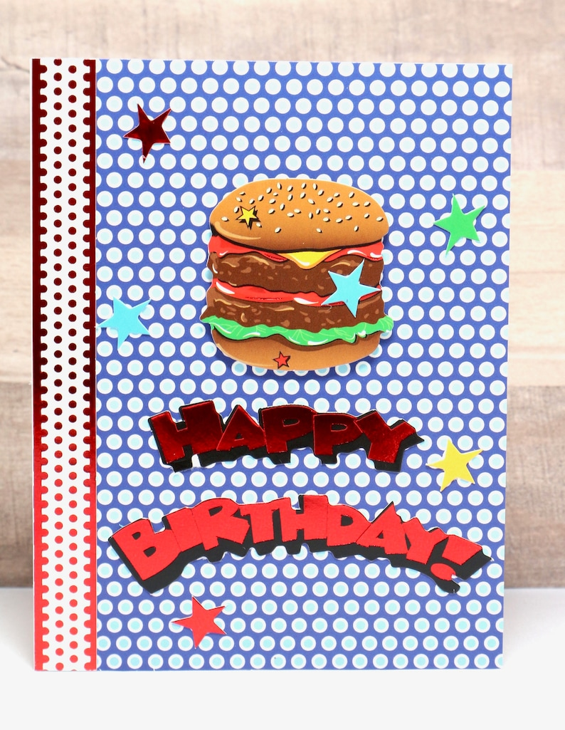 Birthday Card- Burger Lover Birthday- Burger Lover Card- Happy Birthday  Card- Boyfriend Card- Guy Birthday Card