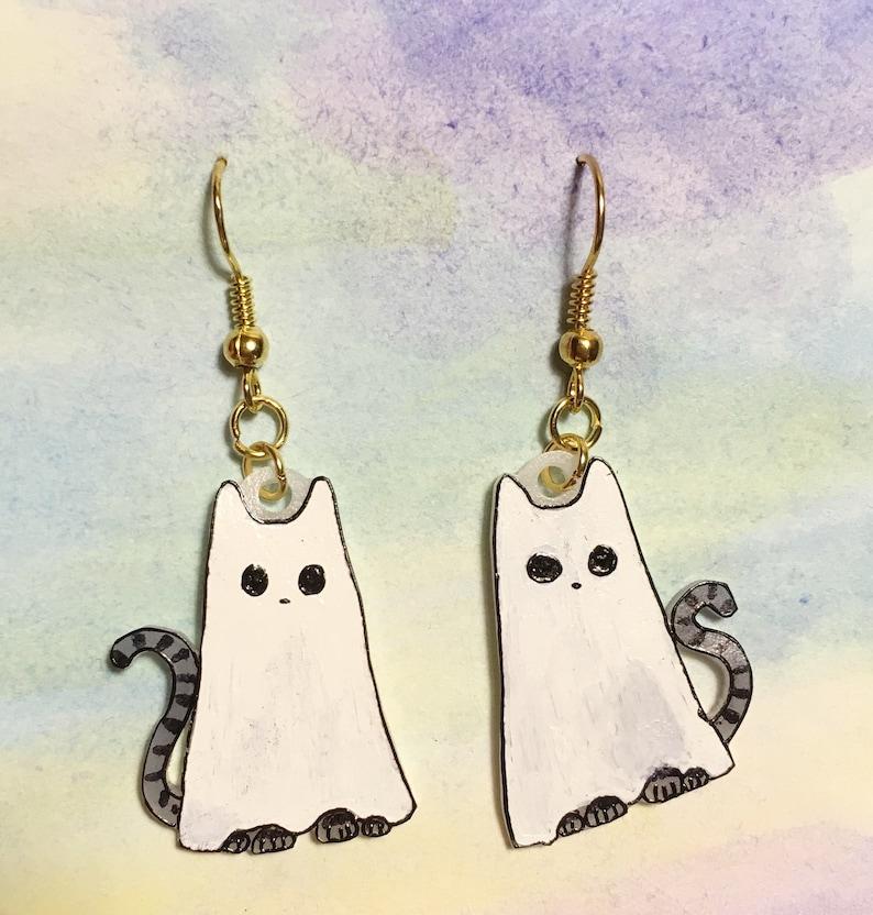 Ghost Cat Halloween earrings image 0