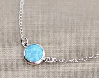 UNIQUE Seafoam Or Sky Blue Opal Gemstone Necklace,Sterling Silver Bezel Set Opal,Layering,Minimalist,Lab Created Opal,October Birthstone