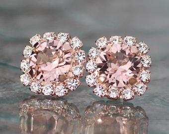 GORGEOUS Morganite Blush Pink Rose Gold Halo Stud Earrings,Rhinestone Halo Post,Dusky French Rose,Bridal,Bridesmaids,Rose Gold Wedding,Small