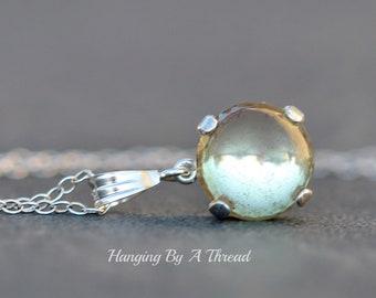 Victorian Saphiret Round Pendant,11mm Round Saphiret Sappharine,Sterling Silver,Dainty,Keepsake,Heirloom,1900s Jewelry,Gift,Antique Jewel