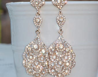 GORGEOUS Rose Gold Long Crystal Chandelier Earring,Rose Gold Crystal Clear Long Rhinestone Drop,Stud Post,Bridal Wedding Earrings,Dangle
