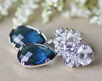 Bridal Silver Clear CZ Cluster & Navy Blue Drop Earring,Sterling Silver Post Stud,Long Montana Navy Blue Crystal Drop,Bezeled Crystal,Frame