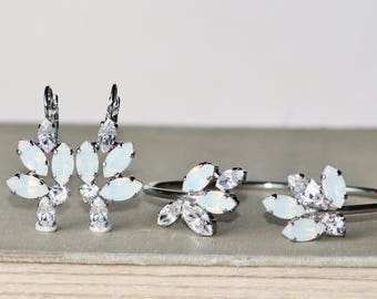 NEW Swarovski White Opal Marquise Navette Earrings Or Cuff Bracelet,Silver Marquise Drop,Bridal,Weddings,Crystal Lever Back,Cluster Style