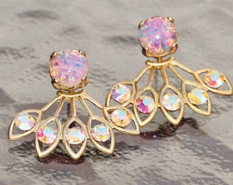 GORGEOUS Vintage Pink Fire Opal Earring Jacket,Pink Rainbow Opal & Crystal AB Rhinestone Earring,Stud Post,Ear Jacket,Harelquin Opal,Unique