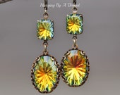 RARE Swarovski Sahara Rhinestone Earrings,Swarovski Dangle Earrings,Starburst Cut Vintage Stone,Rivoli Cut,Dark Rainbow,Brass Leverback,Gift