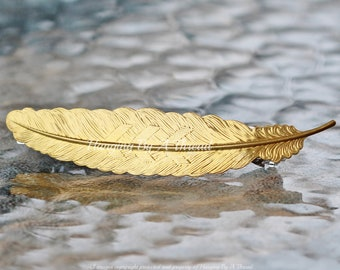 N186 Bohemian Feather Pendant Feather Pendants Raw Brass Feather Charms 55x14mm