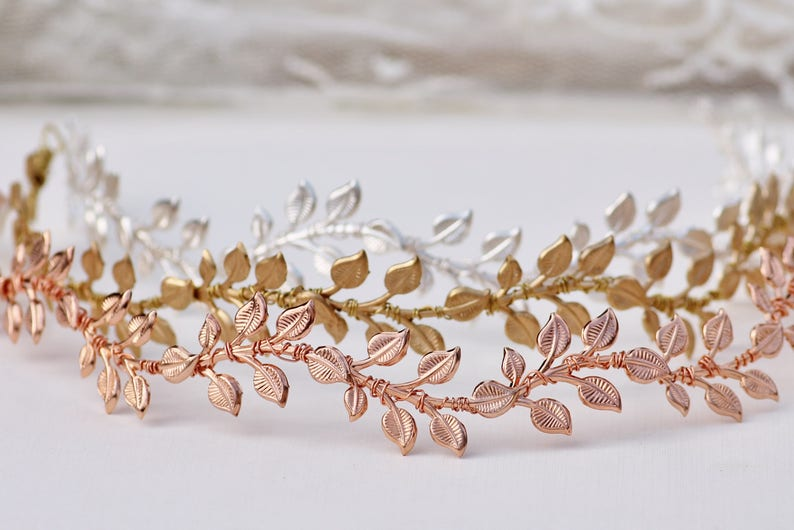 NEW Simple Leaf Vine Crown,Gold Silver,Rose Gold Bridal Boho Headband,Circlet,Leaf Crown,Bridal,Boho Hair Accessory,Under 60,Leaves,Nature