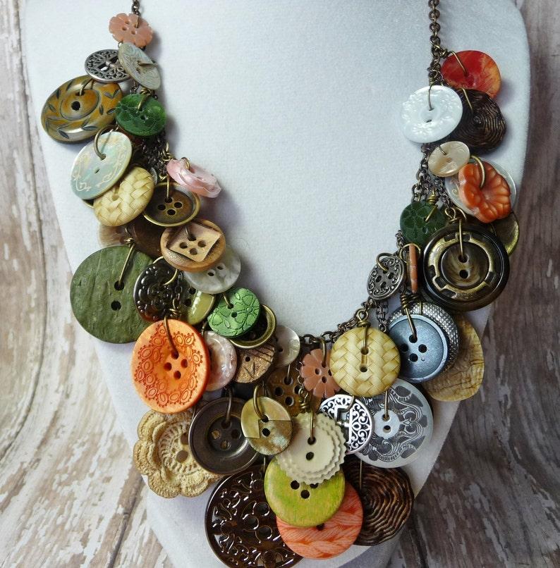 Bountiful Buttons  Vintage Button NecklaceStatementAWARD image 1