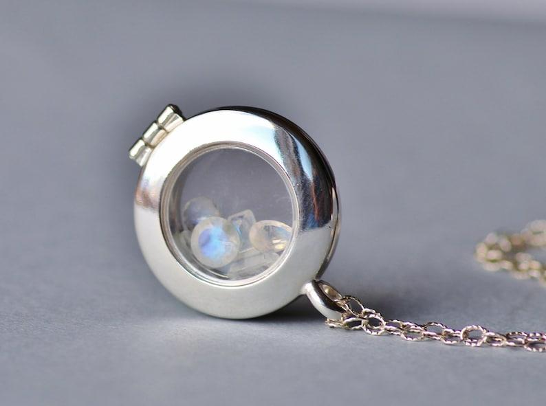 GENUINE Rainbow Moonstone Locket,Solid Sterling Silver Floating Gemstone Locket,Round Large Locket Pendant,June Birthstone,Gift for Her,Gems