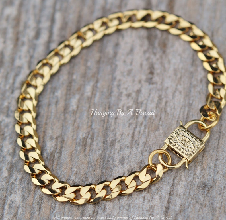 NEW Heavy Gold Cuban Chain Bracelet,Evil Eye Double Sided Clasp,Stacking Layering Bracelet,Trendy Gold Chain Link Bracelet,Gift For Her
